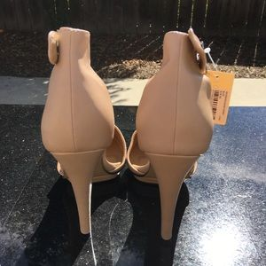 Forever 21 nude pumps with ankle strap